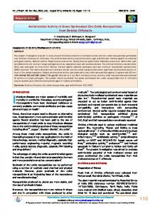 Antimicrobial Activity of Green Synthesized Zinc Oxide