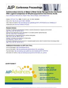 Antimicrobial Activity of Metal & Metal Oxide Nanoparticles Interfaced