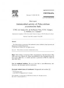 Antimicrobial activity of Pithecolobium avaremotemo
