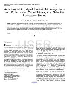 Antimicrobial Activity of Probiotic Microorganisms from ...