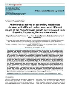 Antimicrobial activity of secondary metabolites ... - Academic Journals