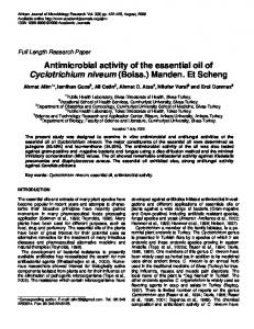 Antimicrobial activity of the essential oil of ... - Academic Journals