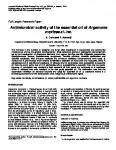 Antimicrobial activity of the essential oil of Argemone mexicana Linn.