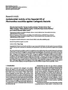 Antimicrobial Activity of the Essential Oil of Plectranthus neochilus