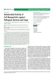 Antimicrobial Activity of Zno Nanoparticles against Pathogenic ...