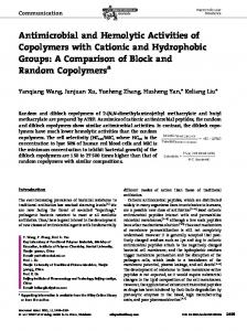 Antimicrobial and Hemolytic Activities of Copolymers with Cationic and ...