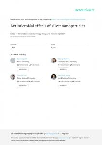 Antimicrobial effects of silver nanoparticles