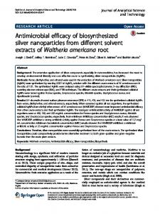 Antimicrobial efficacy of biosynthesized silver nanoparticles from ...