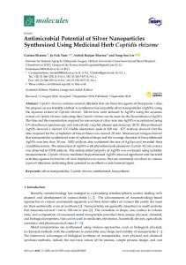 Antimicrobial Potential of Silver Nanoparticles Synthesized ... - MDPI