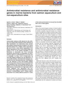 Antimicrobial resistance and antimicrobial resistance genes in marine ...