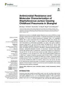 Antimicrobial Resistance and Molecular