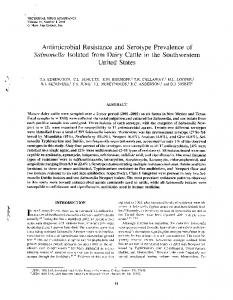 Antimicrobial Resistance and Serotype Prevalence of ... - PubAg - USDA