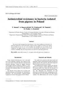 Antimicrobial resistance in bacteria isolated from ...