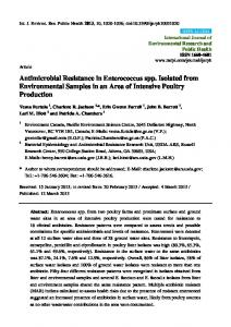 Antimicrobial Resistance in Enterococcus spp. Isolated from ... - MDPI