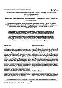 Antimicrobial resistance of mesophilic Aeromonas spp. isolated from ...