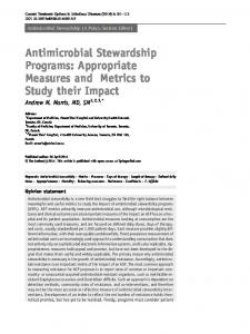 Antimicrobial Stewardship Programs: Appropriate Measures and ...