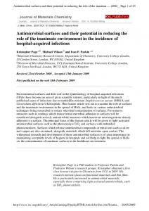 Antimicrobial surfaces and their potential in reducing the ... - CiteSeerX