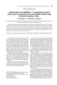 Antimicrobial Susceptibility of Campylobacter jejuni subsp. jejuni ...