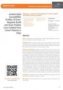 Antimicrobial Susceptibility Profiles of Gram- Negative Bacilli and ...