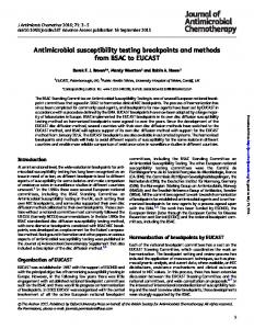 Antimicrobial susceptibility testing breakpoints and