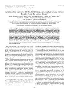 Antimicrobial Susceptibility to Azithromycin among Salmonella ...