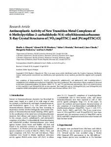 Antineoplastic Activity of New Transition Metal Complexes of 6