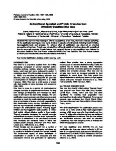 Antinutritional Appraisal and Protein Extraction from ... - CiteSeerX