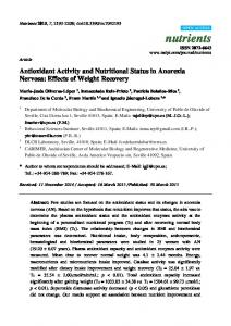 Antioxidant Activity and Nutritional Status in Anorexia Nervosa - MDPI