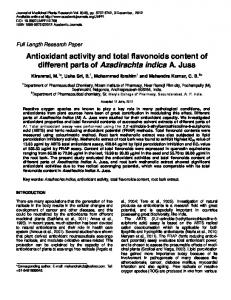 Antioxidant activity and total flavonoids content of