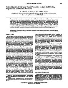 Antioxidant Activity and Total Phenolics in Selected Fruits, Vegetables ...