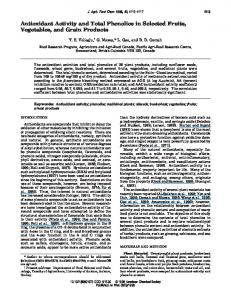Antioxidant Activity and Total Phenolics in Selected ...