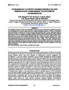 antioxidant activity of spice extracts and phenolics in comparison to ...