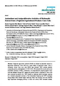 Antioxidant and Antiproliferative Activities of Methanolic Extract ... - MDPI