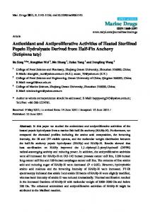 Antioxidant and Antiproliferative Activities of