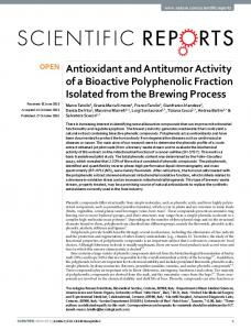 Antioxidant and Antitumor Activity of a Bioactive ... - Semantic Scholar