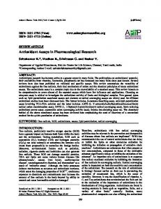 Antioxidant Assays in Pharmacological Research