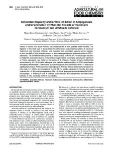 Antioxidant Capacity and in Vitro Inhibition of ... - ACS Publications