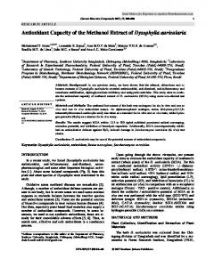 Antioxidant Capacity of the Methanol Extract of
