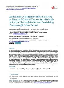 Antioxidant, Collagen Synthesis Activity in Vitro and Clinical Test on ...