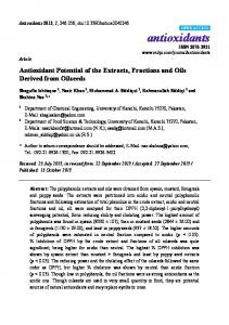Antioxidant Potential of the Extracts, Fractions and ... - Semantic Scholar
