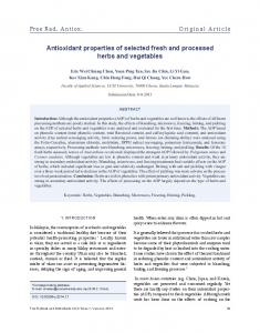 Antioxidant properties of selected fresh and processed ... - PhcogFirst