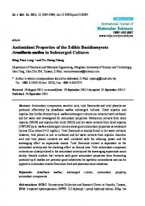 Antioxidant Properties of the Edible Basidiomycete ... - BioMedSearch