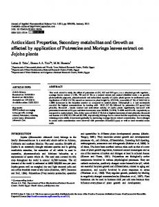 Antioxidant Properties, Secondary metabolites and ... - eJManager