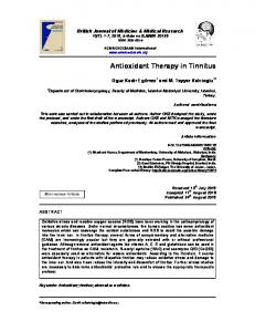 Antioxidant Therapy in Tinnitus