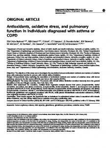 Antioxidants, oxidative stress, and pulmonary ... - Semantic Scholar