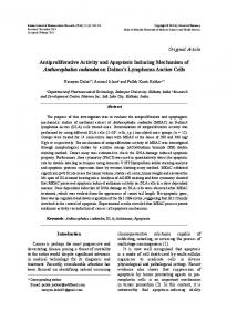 Antiproliferative Activity and Apoptosis Inducing Mechanism of ...