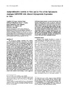 Antiproliferative Activity in Vitro and in Vivo of the Spicamycin ...