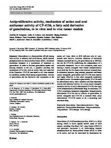 Antiproliferative activity, mechanism of action and oral antitumor ...