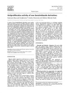 Antiproliferative activity of new benzimidazole derivatives - CiteSeerX