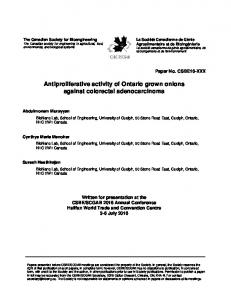 Antiproliferative activity of Ontario grown onions ...